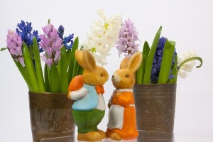 Easter bunnies with iris flowers