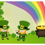 leprechauns with pot of gold end of rainbow