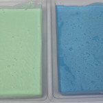 rebatched blue and green soap